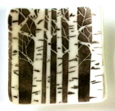 Fused Glass Bowl Dish with Birch Aspen Trees in White and Black for  Jewelry Rings Keys Nuts Paperclips Candles Soap