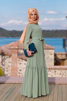 Çağla Yeşili Kuaybe Gider 2015 Elbise Modelleri
