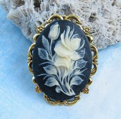 Cameo Pin Black with Ivory Color Rose by Hurstjewelry on Etsy.