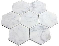 "Carrara (Carrera) Bianco Hexagon 5"" Polished Mosaic Tile"