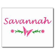 Savannah Name Post Card Templates, Savannah Name Postcards
