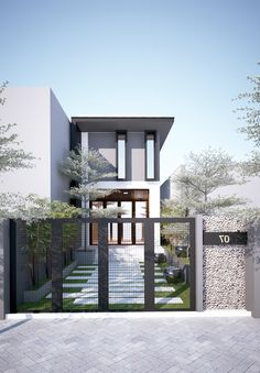 9 pretty small exterior house design architecture ideas 5 « A Virtual Zone Narrow House Designs, Small House Design, Modern House Design, Design Exterior, Facade Design, Architecture Design, Small House Exteriors, Dream House Exterior, Style At Home