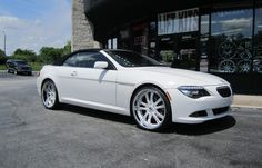 Asanti Wheels, the leader in custom luxury wheels.  White BMW 650 with white AF-159 wheels with SS lip