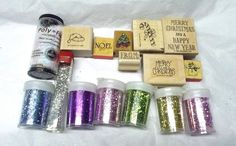 90s Stampin Up Glitter Christmas rubber stamp lot Holiday stamping card making #StampinUp #WinterSnow