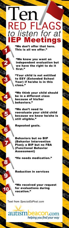 Ten Red Flags To Listen For At An IEP Meeting - AutismBeacon. I heard most of these at IEP meetings at Deerfield Elementary School! Autism Help, Adhd And Autism, Autism Support, Professor, Iep Meetings, Autism Sensory, Sensory Toys, Autism Resources, Sensory Processing Disorder