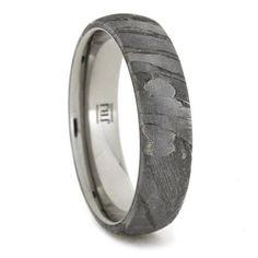 Titanium Ring with Seymchan Meteorite Overlay, Meteorite Wedding Band | jewelrybyjohan - Jewelry on ArtFire