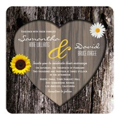 Shop Rustic Tree Bark Heart and Sunflower Wedding Invitation created by prettypicture. Personalize it with photos & text or purchase as is! Heart Wedding Invitations, Sunflower Wedding Invitations, Wedding Party Invites, Rehearsal Dinner Invitations, Beautiful Wedding Invitations, Rustic Invitations, Wedding Invitation Design, Rehearsal Dinners, Wedding Cards
