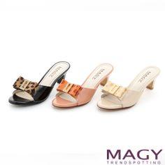 MAGY 時尚優雅名媛 豹紋蝴蝶結粗跟涼拖鞋-米色 - Yahoo!奇摩購物中心