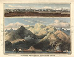 A comparative view of the heights of the principal mountains of Scotland (Thomson) 1832 Mountain Illustration, Illustration Art, Vintage Illustrations, Miss Moss, Take Better Photos, Antique Maps, Science And Nature, Art World, Vintage Posters