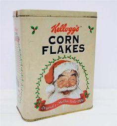 Vintage Christmas Kellogg's Cornflakes Tin Retro Z Vintage Tins, Vintage Santas, Vintage Love, Vintage Cards, Vintage Antiques, Vintage Kitchen, Vintage Christmas Cards, Retro Christmas, Vintage Holiday