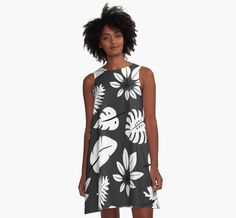 Monochrome pattern with tropical leaves by AllaRi