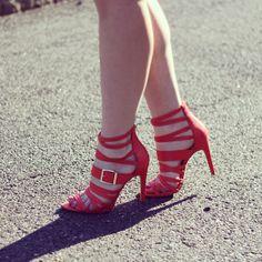 Red Strappy Heels.  #mysolesociety