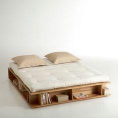 Lit Avec Tiroir étagères Et Sommier Pin Massif Yann La Redoute - Lit futon 160x200 avec tiroirs