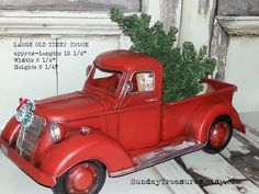 Large Metal Old Fashioned Red Truck Christmas Decor Primitive Centerpiece Tree