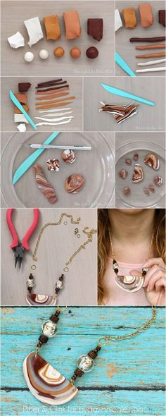 Want to try working with Polymer Clay Polymer Clay Canes, Polymer Clay Necklace, Fimo Clay, Polymer Clay Projects, Polymer Clay Creations, Polymer Clay Beads, Clay Crafts, Clay Earrings, Diy Fimo