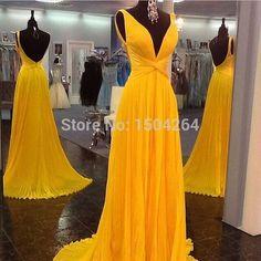 Cuello en V profundo atractivo vestido De fiesta Backless Prom Vestidos largos De gasa sin mangas amarillo Vestidos De fiesta Longo la longitud del piso 2015