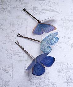 Cinderella inspired silk butterfly hair pins - trio of pale blues - Hair pins/kanzashi/Hair accessories - Butterfly Hair, Blue Butterfly, Butterfly Wings, Cute Jewelry, Hair Jewelry, Jewellery, Cinderella Hair, Diy Hair Accessories, Hair Sticks