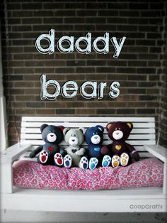 Memorial Bears for kids who have lost a parent. Maybe not just for kids who have lost parents, but just to make a teddy bear out of a couple of your old shirts for your kids or for yourself. I like the idea of making teddy bears from shirts