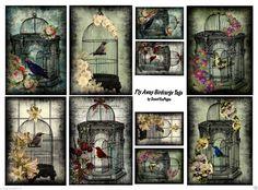 "10 ""Spring Birdcage "" 14 Scrapbook Paper Crafts Hang Gift Tags | eBay"