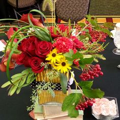"""Back to School"" themed luncheon- floral arrangements created by Metcalfe's Market, Madison, WI"