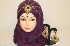 New Diamante Hijab Matha Patti Tikka Earring Head Piece Bridal Costume Jewellery | eBay