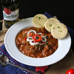 Czech Guláš Served with Knedlicky. Czech Guláš served with Knedlicky - A spicy beef stew served with bread dumplings to mop up every delicious bit. Beef Goulash, Goulash Recipes, Beef Recipes, Soup Recipes, Cooking Recipes, Dinner Recipes, Easy Recipes, Dinner Ideas, Slovak Recipes