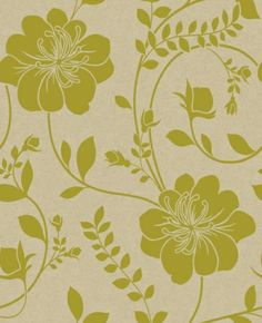 Twilight Green (910804) - Arthouse Wallpapers - A beautiful and bold floral trail in rich matt lime green on a metallic silver gold background. Other colour ways available. Please request a sample for true colour match. Paste the wall.