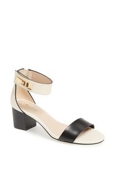 love these ivory and black block heel sandals {40% now during Nordstrom's Half Yearly Sale!!}