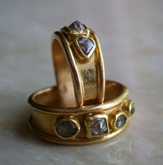 20k red gold ring with 4 raw diamonds size 5 1/2 by Kulicke