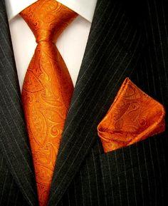 LORENZO CANA Luxury Italian Pure Silk Woven Tie Hanky Set Orange Gold Paisley 8436301