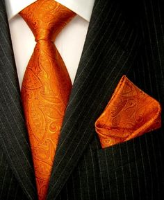 LORENZO CANA Luxury Italian Pure Silk Woven Tie Hanky Set Orange Gold Paisley 8436301