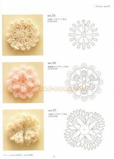 Flores em crochet com gráficos