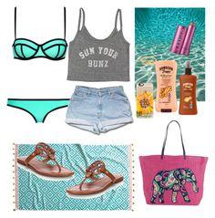 """sun bathing"" by haileycouture ❤ liked on Polyvore featuring moda, Milly, Billabong, Hawaiian Tropic, ChloBo, Fresh, Casetify, John Robshaw, Vera Bradley i Tory Burch"