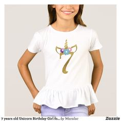7 years old Unicorn Birthday Girl for Kids T-Shirt