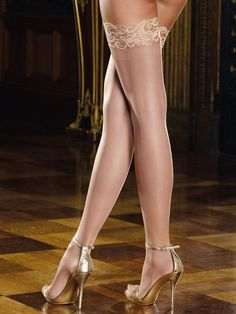 Dreamgirl Tuscany Thigh High Hold Up Stockings D0005 £13.99  You will be a vision of naughtiness when he sees you in these. Sheer thigh high with stay up silicone lace top. Available in Nude, Black, Red or White. #stockings #dreamgirl