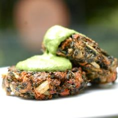 Swiss Chard Cakes with Basil-Spinach Sauce