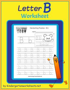 Letter B Writing Practice Worksheet - Free Kindergarten English Worksheet for Kids Letter B Worksheets, English Worksheets For Kindergarten, Handwriting Practice Worksheets, Alphabet Writing, Cute Letters, Simple Words, Bear, Lettering, Education