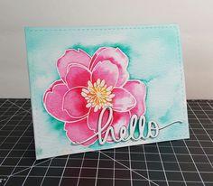 Ellen Hutson Mondo Magnolia, Mama Elephant hello die & peerless watercolors