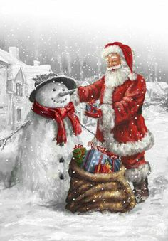 Photo Gallery - Christmas Santa Claus and Snowman Print Waterproof Bathroom Shower Curtain Christmas Scenes, Noel Christmas, Father Christmas, Vintage Christmas Cards, Christmas Pictures, Christmas Crafts, Christmas Decorations, Christmas Clothes, Winter Christmas