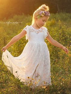 White Or Butter Cream Lace Boho Rustic Flower Girl Dress READY TO SHIP