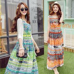 S-XL Orange/Green Bohemia Floral Printing Beach Maxi Dress SP152631