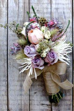 Beach Boho Chic Romantic Pink Purple White Bouquet Fall Spring Summer Winter Wedding Flowers Photos & Pictures - WeddingWire.com