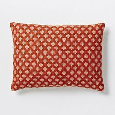Jacquard Leaf Silk Pillow Cover – Cayenne - West Elm