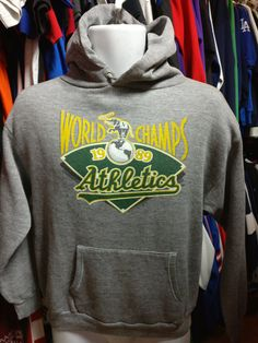 Vtg '89 OAKLAND ATHLETICS A's MLB World Champs Hooded Sweatshirt M