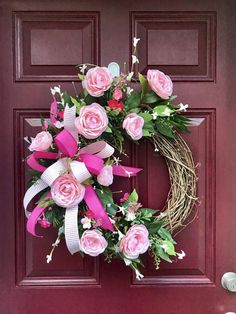 Mother's Day Gift, Ranunculus Wreath, Spring Decor, Floral Grapevine Wreath for Front Door, Door Dec Diy Wreath, Grapevine Wreath, Monogram Wreath, Mothers Day Wreath, Hot Pink Flowers, Wreaths For Front Door, Front Doors, Door Wreaths, Summer Wreath