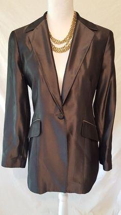 Tahari Womens Shiny Gray Lined 2 Pocket Jacket Blazer 10 #Tahari #Blazer