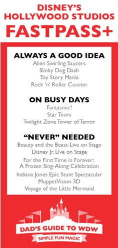 Cheatsheet Optimize your day at Disney's Hollywood Studios with Dad's cheatsheet for using Fast Pass Plus!Optimize your day at Disney's Hollywood Studios with Dad's cheatsheet for using Fast Pass Plus! Disney Cruise, Fastpass Disney World, Walt Disney World Vacations, Disney Parks, Disney 2017, Disney Travel, Family Vacations, Dream Vacations, Disney Time