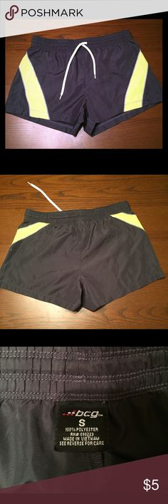 Athletic shorts Grey and neon yellow athletic shorts. Perfect condition, only worn once. BCG Shorts