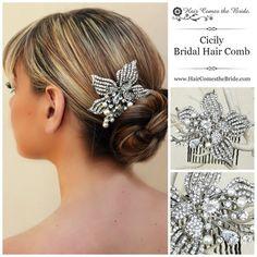 "Rhinestone & Pearl Flower Bridal Hair Comb ""Cicily"" by Hair Comes the Bride ~ #bridalhairaccessories  #bridalcomb  #bridalhaircomb"