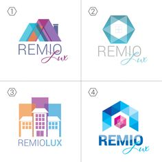 We created Logo in 4 variations for real estate company Remio Lux. Soft pastel colors, touch of flat design. Logo design connected with houses and property Logo design / Branding /Graphic design